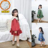 女童內刷毛長裙 小童洋裝 兒童長袖棉質冬裙