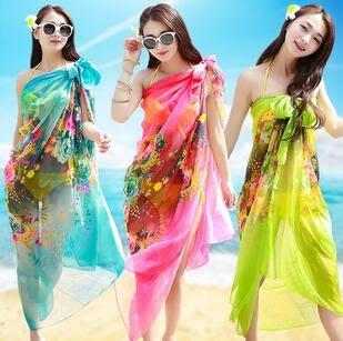 絲巾百搭海邊防曬兩用長款沙灘巾FA05522『時尚玩家』