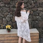 雙12鉅惠 夏裝新款女裝韓版學院風寬鬆顯瘦中長款蕾絲拼接開襟空調衫防曬衣 森活雜貨