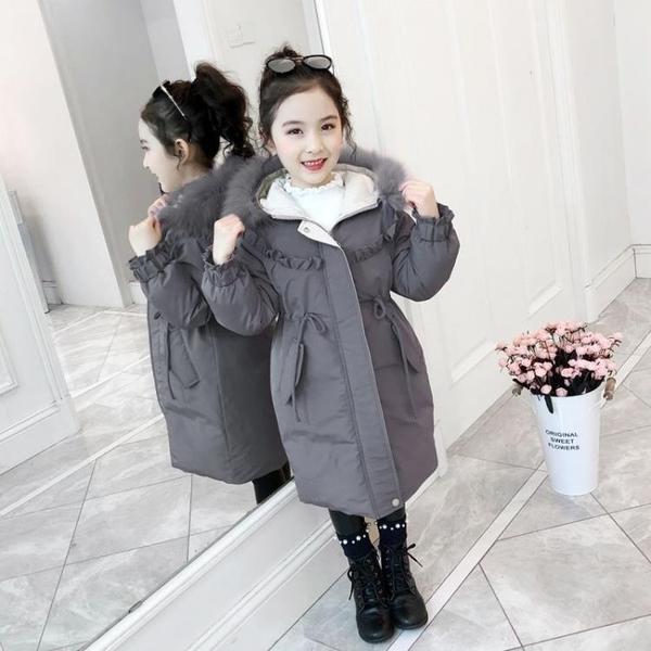 潮流秋冬羽絨服羽絨外套 韓版外套中大童上衣 兒童夾克外套加絨棉服 中長款女童外套女孩棉襖