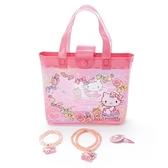 〔小禮堂〕Hello Kitty 兒童串珠飾品組附手提包《粉白》手環.首飾.髮夾 4901610-17871