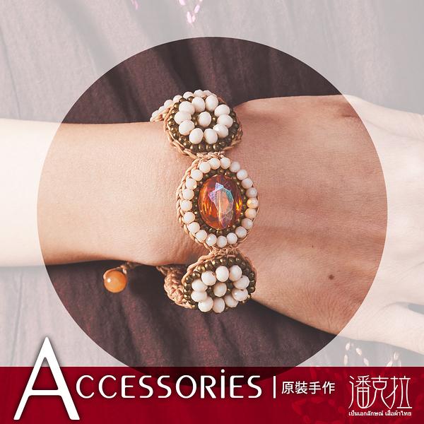 琥珀感蠟繩編織手環琥珀 -F【潘克拉Accessories】