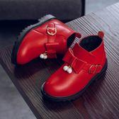 兒童鞋子 童鞋秋冬新款女童靴子兒童短靴水鑽皮鞋公主牛皮加絨兒童棉靴【韓國時尚週】