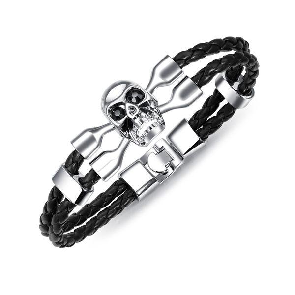 【5折超值價】經典復古歐美風格骷顱頭造型鈦鋼皮手環