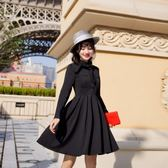 長袖小禮服秋冬新款系帶蝴蝶領結修身顯瘦連身裙9878GD3F-326-B朵維思