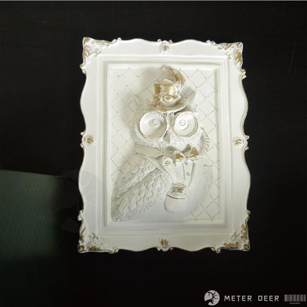 貓頭鷹 狼人立體浮雕裝飾相框畫 歐式古典貴族紳士風寵物動物壁掛畫 餐廳牆面設計-米鹿家居