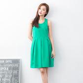 【2%】2%簡約素色硬挺洋裝-綠