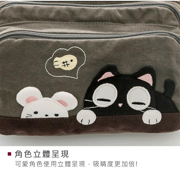 Kiro貓 小黑貓與白鼠 三層 拼布包 腰包/防盜胸包/單肩斜背包【810026】