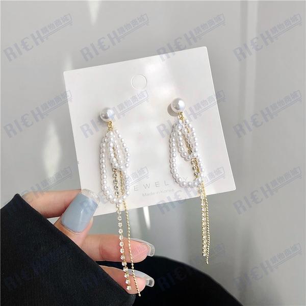 S925銀針韓國氣質流蘇珍珠耳環女網紅長款顯臉瘦耳釘百搭耳飾