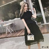 小黑裙黑色顯瘦蓬蓬蛋糕裙雪紡連衣裙