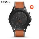 FOSSIL Q NATE棕色皮革指針式智慧手錶 男