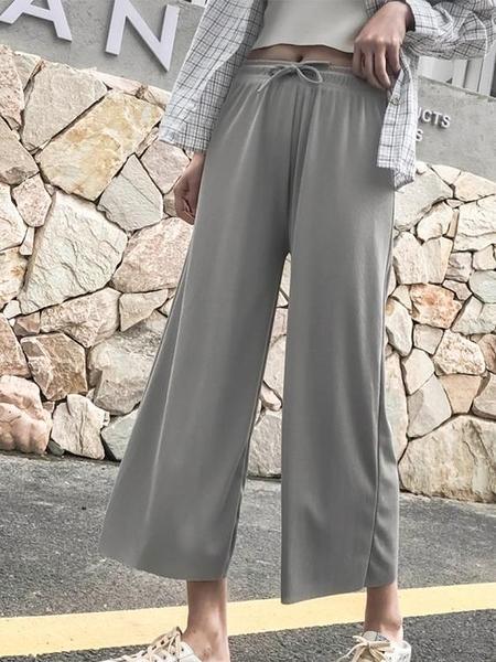闊腿褲女高腰寬松顯瘦垂感2021新款冰絲西裝休閑褲女百搭直筒褲子  快速發貨