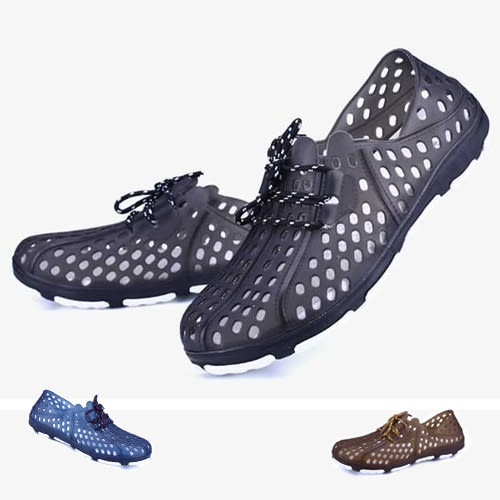 男款 繫帶造型洞洞防水休閒鞋 懶人鞋 洞洞鞋 59鞋廊