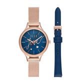 ELLE 閃耀愛情星空套錶-藍X玫瑰金