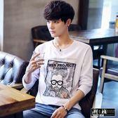 『潮段班』【HJA3TX28】韓版經典眼鏡男生印花舒適長袖T恤
