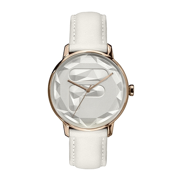 【FILA 斐樂】幾何切面LOGO設計腕錶-純淨白/38-184-002/台灣總代理公司貨享兩年保固