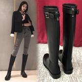 長靴 騎士靴女秋冬新款網紅靴子皮靴粗跟不過膝靴平底高筒靴長筒靴女  艾維朵