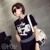 歐美風修身印花短袖T恤 O-Ker 歐珂兒 UA2248-C