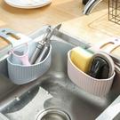 吸盤水槽掛袋 瀝水籃 吸盤 浴室瀝水籃 廚房 瀝水架 菜瓜布收納籃 菜瓜布 水槽收納【RS977】
