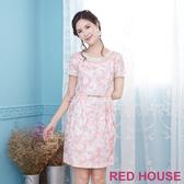 【RED HOUSE 蕾赫斯】透膚剪接花朵點點洋裝(共2色)