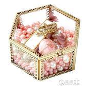 金色皇冠玻璃中號六邊形首飾盒珠寶盒收納盒飾品盒整理盒禮品禮物   電購3C