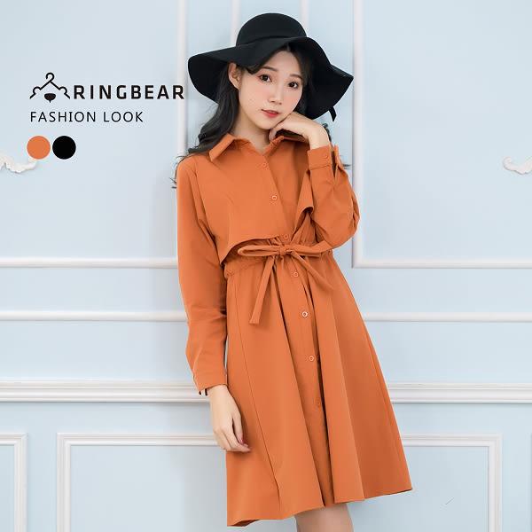 連身洋裝--經典英倫風簡約假兩件顯瘦收腰長袖連身圓裙(橘.黑L-3L)-A323眼圈熊中大尺碼