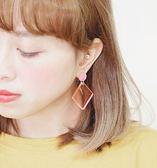 正韓風尚透視方圓垂吊鋼針耳環~夏綠蒂didi-shop