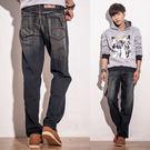 台灣製牛仔褲-復古刷色口袋電繡牛仔褲...
