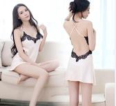 性感睡衣女夏蕾絲內衣吊帶透視情趣睡裙冰絲