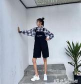 學院風減齡字母口袋吊帶褲夏季韓版寬鬆高腰直筒中褲五分褲女 潔思米