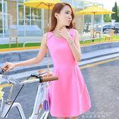 女裝時尚大碼修身短裙清新正韓連身裙女吊帶裙  蒂小屋服飾