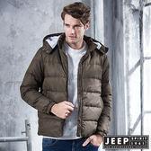 【JEEP】時尚簡約造型圖騰羽絨外套 (橄欖綠)