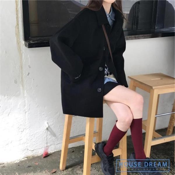 斗篷外套女 2020新款非雙面羊絨外套黑色小個子赫本風斗篷大衣女秋冬