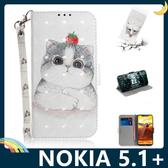NOKIA 5.1 Plus 彩繪漸層保護套 卡通側翻皮套 雷射3D視覺 支架 插卡 磁扣 手機套 手機殼 諾基亞