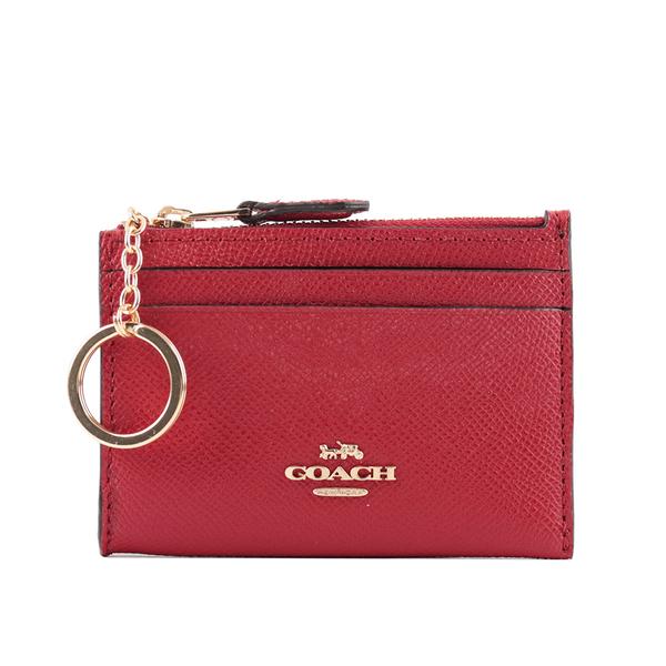 【COACH】素面皮革零KEY/卡夾/零錢包(紅色) 88250 IMF8Q