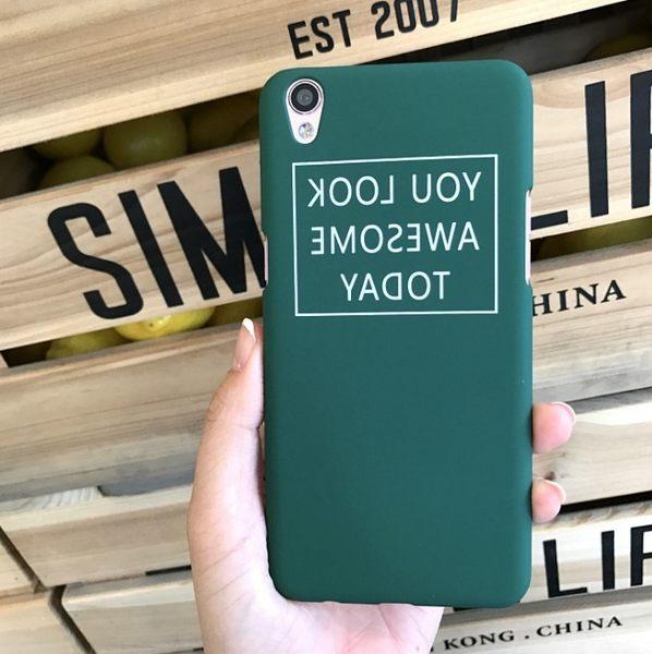 墨綠英文 oppo r7s 手機殼 r9 plus 磨砂硬殼 情侶超薄創意男