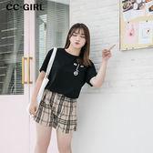 中大尺碼 印花T恤上衣+格紋抽繩短褲 兩件式套裝 - 適XL~4L《 66593L 》CC-GIRL