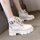 馬丁靴女英倫風2020秋冬新款厚底增高小個子短靴百搭單靴機車 伊蘿