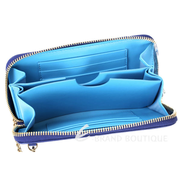 Salvatore Ferragamo 撞色馬蹄LOGO拉鍊中夾/鍊帶晚宴包(藍色) 1620380-23