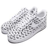 Nike 休閒鞋 Air Force 1 07 QS AF1 白 黑 皮革鞋面 滿版 LOGO 男鞋 經典款 運動鞋【PUMP306】 AH8462-100