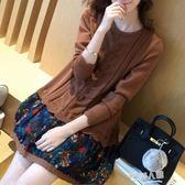 新款韓版女裝潮碎花假兩件套裝秋冬季寬鬆雪紡長袖針織洋裝 全館免運