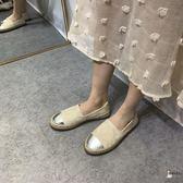 漁夫鞋 經典~回饋款平底單鞋女2019小香風草編漁夫鞋厚底懶人鞋樂福鞋 3色35-40