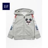 Gap x Disney男童 迪士尼系列 連帽長袖休閒外套 471071-亮麻灰色
