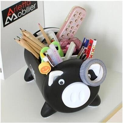 懶角落 小豬電視遙控器收納盒 創意客廳桌面收納盒 儲物盒【黑色】