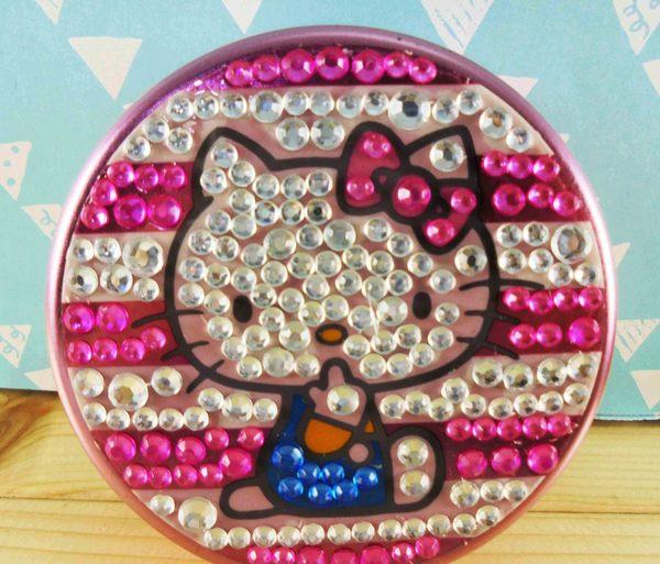 【震撼精品百貨】Hello Kitty 凱蒂貓~KITTY圓鐵盒-粉鑽