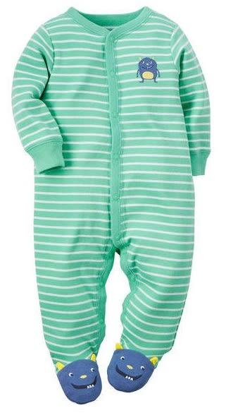 Carter's 連身衣  綠色條紋小精靈長袖包腳連身衣 3M (Final sale)