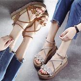 涼鞋女學生夏新款平底增高百搭韓版chic鬆糕底ins網紅鞋  野外之家