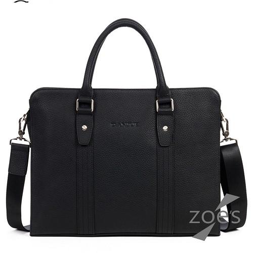【Zoe s】頂級牛皮  荔枝紋 極簡復古兩用公事包(紳士黑)