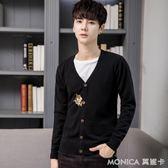 針織衫開衫刺繡外套男士V領韓版青年時尚潮流外穿毛衣男 莫妮卡小屋
