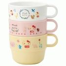 小禮堂 Hello Kitty 日本製 單耳塑膠杯3入組 220ml (粉動物款) 4973307-55190